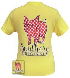 Girlie Girl Originals Southern Polka Dot Happy & Preppy Pig Cornsilk T Shirt