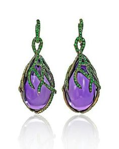 "Wendy Brandes -  Amethyst and Tsavorite ""Marie-Antoinette"" earrings. Photo courtesy of Wendy Brandes"