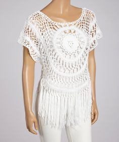 White Crocheted Fringe Scoop Neck Top | something special every day