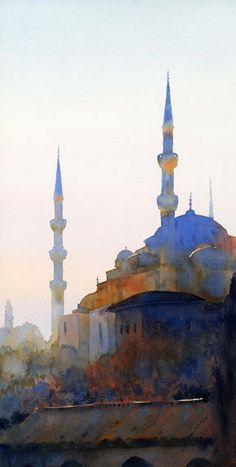 Blue Mosque, Istanbul - Michael Reardon is a watercolorist from California, inspired to create by landscapes and architecture from around the world.