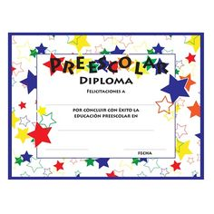 preschool color craze diplomas spanish design feature spanish verbiage to coordinate with your schools
