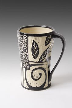 """Patches Mug"" by Jennifer Falter . black slip and sgraffito ohhhhhhhhhhhh its BLAAAAAACK slip scratched off. i was about to try and relief roll temshinti i was so pyched by this woodblock aesthetic Pottery Mugs, Ceramic Pottery, Pottery Art, Thrown Pottery, Sgraffito, Ceramic Cups, Ceramic Art, Tassen Design, Mug Design"