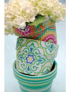 mod podge fabric to flower pots; Happy Tones Fabric by Michael Miller; photography and styling by Trenna Travis