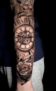Clock Tattoo Sleeve, Best Sleeve Tattoos, Sleeve Tattoos For Women, Tattoo Sleeve Designs, Tattoo Designs Men, Tattoo Clock, Music Tattoo Sleeves, Family Tattoo Designs, Clock Tattoo Design