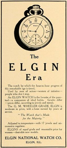 1907 Ad for the G.M. Wheeler Grade Elgin National Pocket Watch
