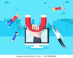 Hand with magnet attract people and money in screen. Business Illustrations, Vector Illustrations, Inbound Marketing, Attraction, Magnets, Banner, Digital, Money, Flat