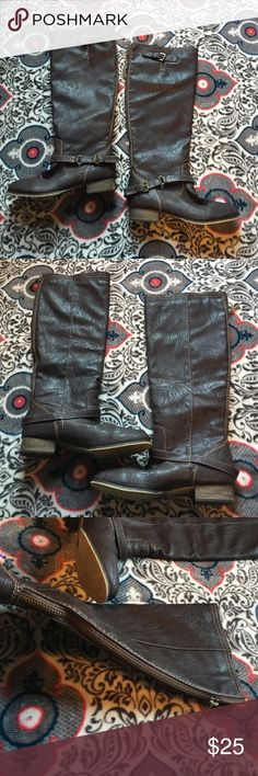 Riding boots Dark brown riding boots. Hits just below the knee. These are in excellent condition. Worn maybe once outside the house. I just have a boot obsession and need room for more. Bought from online boutique Filly Flair if you want to google the site. Breckelles Shoes
