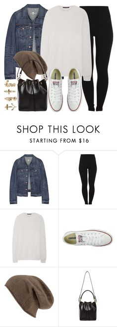 """""""Style #9644"""" by vany-alvarado ❤ liked on Polyvore featuring 7 For All Mankind, Pieces, Haider Ackermann, Converse, Yves Saint Laurent and NLY Trend"""
