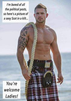 Calendar, Men in Kilts Year - 2016 Calendar - The Kilt Store Hot Scottish Men, Men In Kilts, Kilt Men, Komplette Outfits, Raining Men, Male Beauty, Gorgeous Men, Bad Boys, Hot Guys