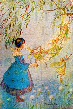Glorious Golden FAIRIES.. VINTAGE Illustration. Fairy DIGITAL Download