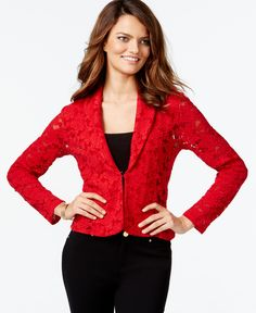 Inc International Concepts Petite Long-Sleeve Lace Blazer, Only at Macy's
