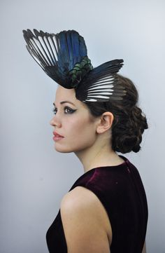 Magpie Wing Feather Fascinator Black, Blue and Green in Dramatic Butterfly Effect