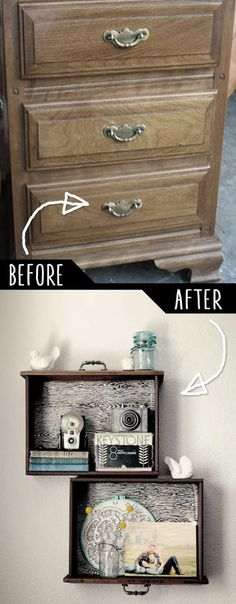 9.  Upcycle Drawers Into Hanging Shelves!
