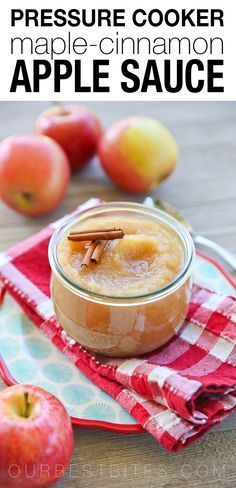 Pressure Cooker Apple Sauce Recipe: Hints of maple and cinnamon, along with fresh apples are cooked lightning fast in a pressure cooker in this simple homemade apple sauce recipe! #pressurecooker #applesauce From ourbestbites.com  via @ourbestbites