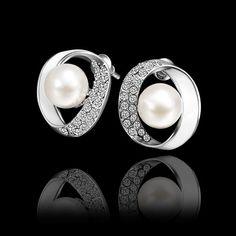 Boucles d'oreilles Femme Classique Ovale Plaqué or Plaqué or rose Plaque palatine Alliage Perles en plastique