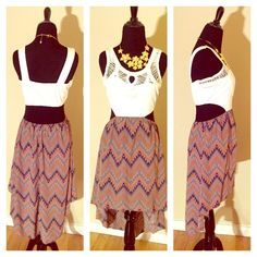 White and Print Cutout Hi-Low Dress White and Print Cutout Hi-Low Dress Dresses High Low
