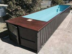 Shipping container pool perfect for every backyard, drop it in and plug it in.