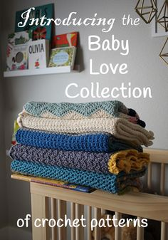 The Baby Blanket Love Collection includes six baby blanket crochet patterns for the contemporary baby, perfect for summertime babies - modern baby blanket - crochet baby blanket patterns - by Little Monkeys Design.