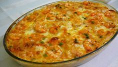 Travessa de Camarão Potato Gratin Recipe, Stroganoff Recipe, Portuguese Recipes, Portuguese Food, Bean Recipes, Fabulous Foods, Light Recipes, Other Recipes, Food Photo