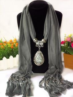 2015 New Arrival Charms Scarf Water Drop Pendant Scarf Jewelry Scarves Necklace Scarf Free Shipping D-0012