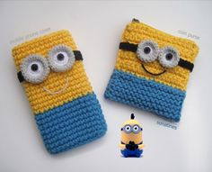 Inspiration: Minion crochet Iphone cover for Minion crochet coin purse Crochet Phone Cover, Crochet Case, Love Crochet, Crochet Gifts, Crochet For Kids, Crochet Toys, Knit Crochet, Minion Crochet, Crochet Coin Purse