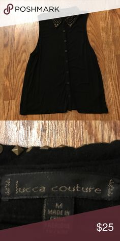 Black button down tank top With gold studded collar Tops Button Down Shirts