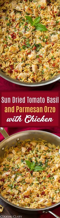 Sun Dried Tomato Basil and Parmesan Orzo with Chicken - cooked in one pan, SO easy to make, ready in 30 minutes.