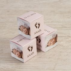Boîte cube rétro à motifs et petons avec photo (rose)