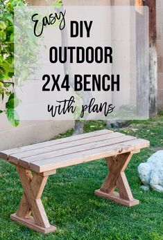 Love how easy and simple it is to build this DIY 2x4 bench. It is the perfect 2x4 DIY project. Easy DIY 2x4 bench with plans and video tutorial. Perfect for indoor, outdoors or entryway. Great farmhouse or rustic look.