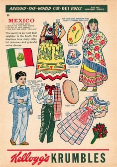 Mexico paper doll sheet, printed on the back of a box of Kellogg's Krumbles cereal, United States, 1949-59, artist unknown.