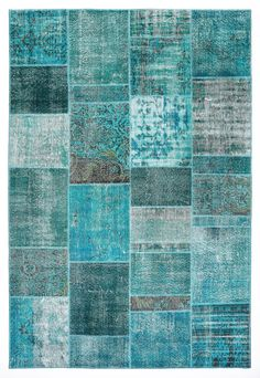 118x79 Inches Wool Carpet Patchwork Rug Turquoise Color Rugs VINTAGE Turkish Woven Carpets Overdyed Rugs / 643 LOVE this... On the floor or on the wall!