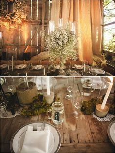 babys breath and cotton wedding decor.... elegant decor for a rustic chic black  white wedding!