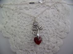 476 Silver Rose and Red crystal heart by CreatedinTheWoods on Etsy, $24.99