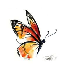 Reseverd for fleurdog27 Monarch Butterfly No. 3 Original Abstract... ❤ liked on Polyvore featuring home, home decor, wall art, butterfly home decor, butterfly wall art and butterfly painting