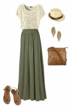 Falda larga y sombrero