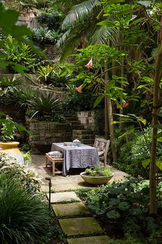 Tropical garden ideas, tips and photos. Inspiration for your tropical landscape, . fairy gardens garden backyard garden cheap garden decorations garden stepping stones tropical garden hot tubs ideas for kids Tropical Garden Design, Tropical Landscaping, Backyard Landscaping, Landscaping Ideas, Tropical Gardens, Landscaping Software, Circular Patio, Landscape Design Plans, Terrace Garden
