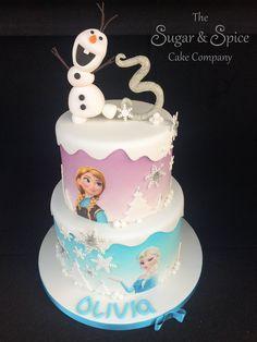 2 tier frozen cake Anna Frozen Cake, Anna Cake, Disney Frozen Cake, Frozen Cupcakes, Disney Frozen Birthday, Disney Cakes, 2 Tier Birthday Cakes, Elsa Birthday Cake, Frozen Themed Birthday Party