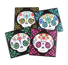 Sugar Skull Cuties Assorted Decorative Coasters By DWK  Day of the Dead Home Accent Tabletop Decoration -- Want additional info? Click on the image. (Note:Amazon affiliate link)