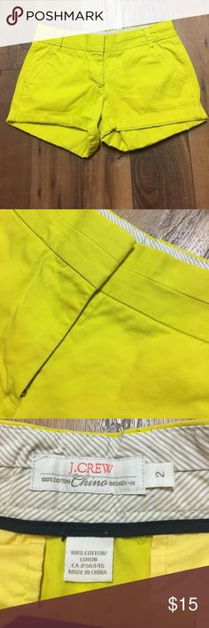 {J. Crew} Yellow Broken In Chino Shorts Size 2. EUC! Such a vibrant yellow to add to your wardrobe! J. Crew Shorts