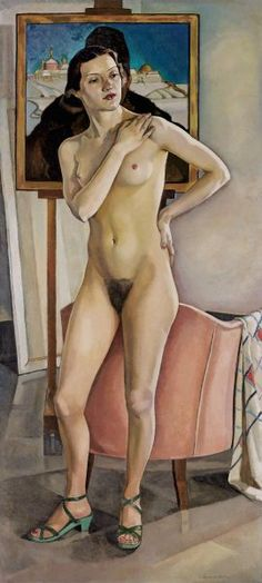 """Prudence Heward's friend, Lilias Torrance Newton, was a Montreal artist particularly interested in representing the human form. """"Nude in the Studio,"""" private collection. Beaver Hall, Montreal Museums, Female Painters, Art Deco, Exhibition, Canadian Artists, Canadian Painters, Art Challenge, Portrait Art"""