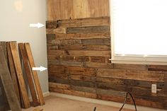 pallet wood accent wall (or ceiling. . . .)