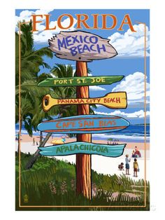 florida beach signs | Mexico Beach, Florida - Sign Destinations Posters by Lantern Press at ...