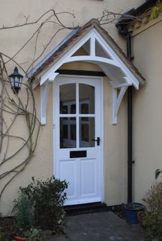 New Front Door Porch Canopy Window Awnings Ideas Front Door Overhang, Front Door Porch, Wooden Front Doors, Timber Door, Front Door Entrance, Front Entrances, House Front, Porch Entry, Entrance Ideas
