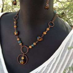 Yellow and Blue Marbled Stone Necklace, 2 strands of Copper chain, Pearlesque Yellow and Blue beads, drop style with Matching Earrings