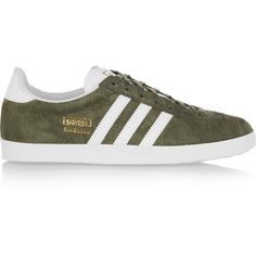 adidas Originals Gazelle OG suede sneakers, Women's, Size: 6 (1,695 MXN) ❤ liked on Polyvore featuring shoes, sneakers, обувь, army green shoes, olive green shoes, suede leather shoes, olive shoes and suede sneakers