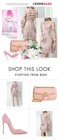 """""""Legerbabe Chiffon Detail Dress"""" by legerbabedress ❤ liked on Polyvore featuring Gucci, Christian Louboutin, dresses, BandageDresses, partydresses and legerbabe"""