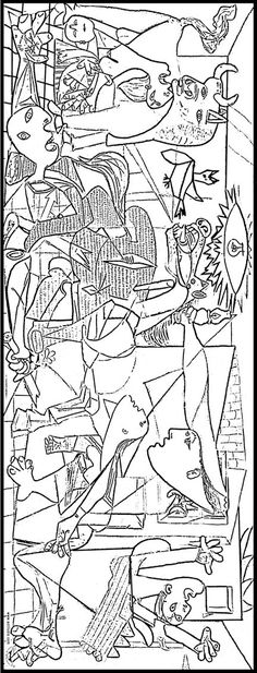 Picasso knew the tragedy of Guernica, and in the exact moment become impressed. A masterpiece, Guernica Pablo Picasso, Picasso Guernica, Colouring Pages, Coloring Books, Art Adulte, Art Espagnole, Hispanic Art, Art Worksheets, Spanish Art