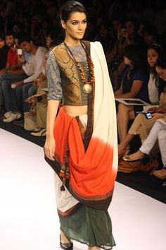 Paromita Banerjee - nice blouse and tribal necklace, but can't pull off the saree draping.