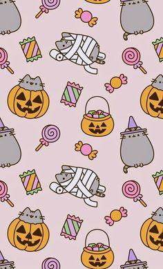 Pusheen goes trick-or-treating - Halloween Wallpaper Halloween Wallpaper Iphone, Fall Wallpaper, Halloween Backgrounds, Kawaii Wallpaper, Wallpaper Backgrounds, Unique Wallpaper, Wallpaper Ideas, Gato Pusheen, Pusheen Love