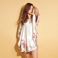 Cashew Flowers Faux Silk Nightgown Plus Size Bat Sleeve Women Nightgowns and Sleepshirts Sleepshirts Simple Design Sleepwear * For more information, visit image link.